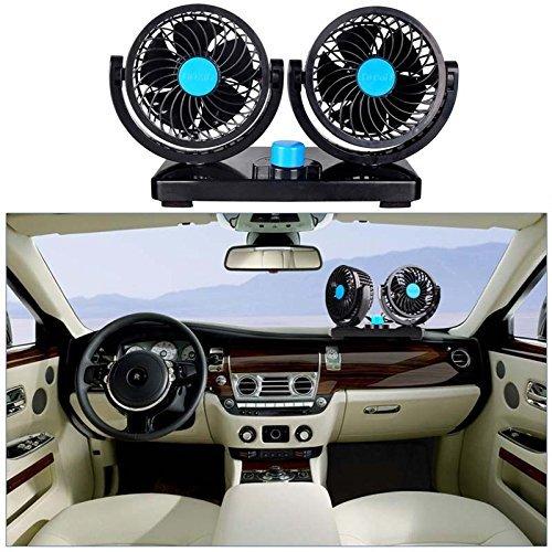 Sminiker Dual Head Car Auto Cooling Air 12V Car Fan 360 Degree Rotation Adjustable Fan- Powerful Quiet 2 Speed Rotatable Dashboard Auto Fan