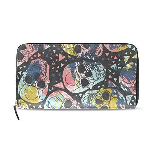 Womens Wallets Colorful Sugar Skull Leather Passport Wallet Change Purse  Zip Handbags c7c4f8058b31c