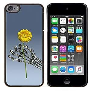 TECHCASE---Cubierta de la caja de protección para la piel dura ** Apple iPod Touch 6 6th Touch6 ** --Flor de Sci Fi de la máquina robot futurista