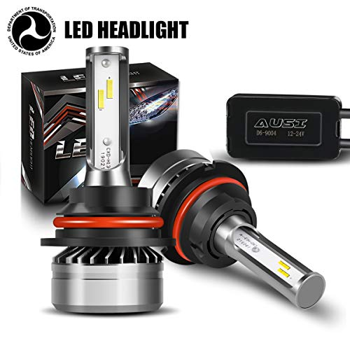 (AUSI 9004 High Beam Low Beam LED Headlight Bulbs D6 Series CSP Chips Conversion Kit 3000LM 6000K Cool White (2 Pack)-DOT Certified,1 Yr)