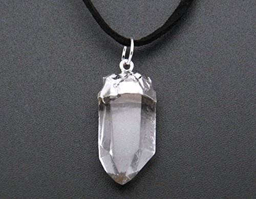 Fundamental Rockhound: Natural Clear Crystal Quartz Point Necklace Pendant on black suede cord