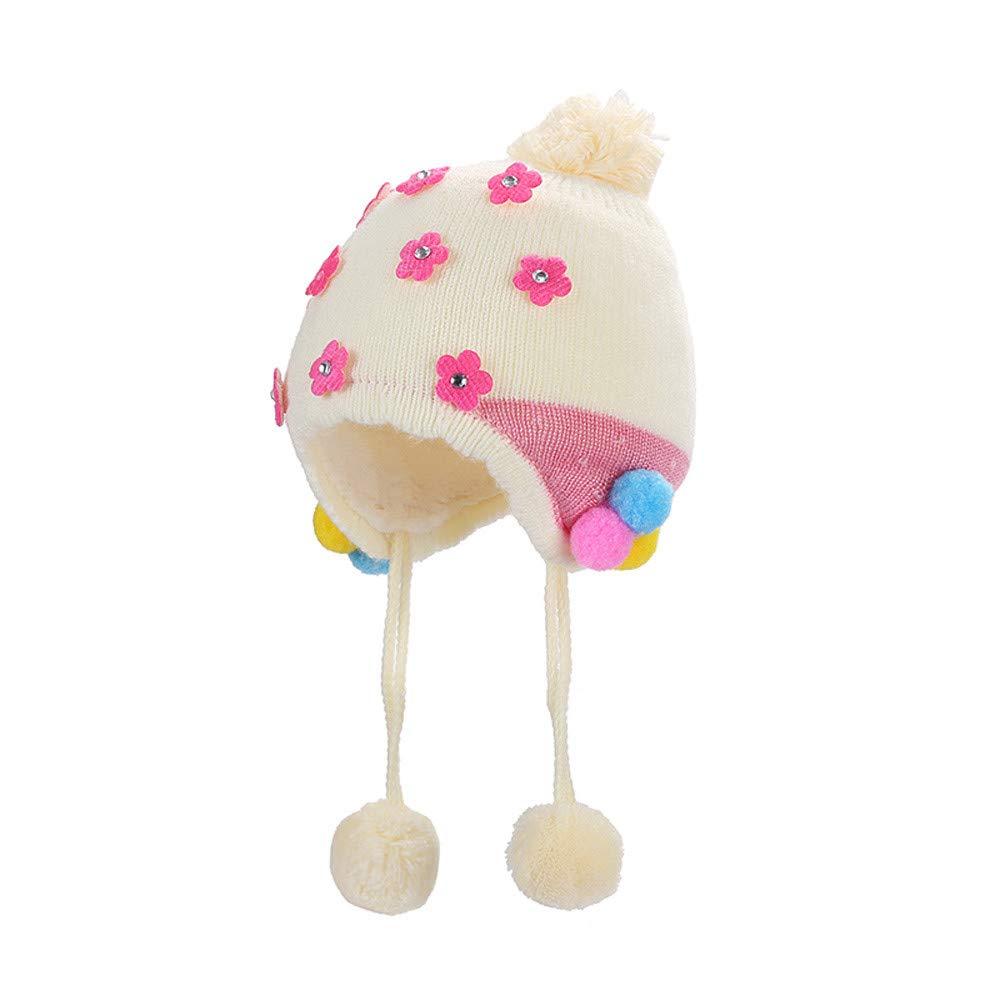 Longra Mädchen Mütze Baby Strickmütze Wintermütze mit Bommel und Fleece-Innenseite Neugeborene Baby Mütze Schöne Blumen Beanie Mütze Warm Fleecemützen Ohrenmützen Bommelmütze Kappe