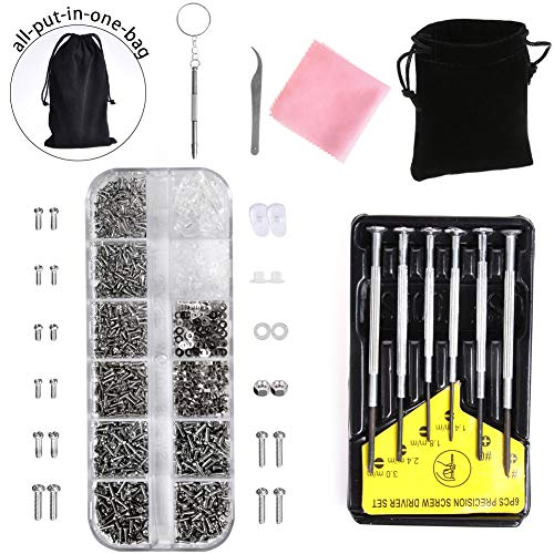 Eyeglasses Repair Kit - Eyeglass Sunglass Repair Kit with 1100 Small Screws, Tweezers, 6Pcs Screwdrivers, Tiny Micro Screws Nuts Assortment Stainless Steel Screws for Spectacles Watch by ()