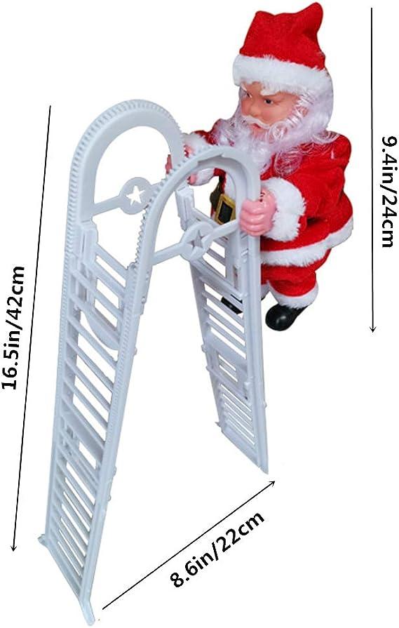 SEALEN Eléctrico Papá Noel Subir la Escalera Muñeco de Peluche Decoración, Creative Subiendo y Bajando Santa con Música, Fiesta de Navidad Casa Puerta Pared Vacaciones Decoración: Amazon.es: Hogar