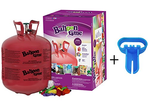 Balloon Time Disposable Helium Tank 14.9 cu.ft - 50 Latex Balloons + Balloon Tying Tool + Curling Ribbon -