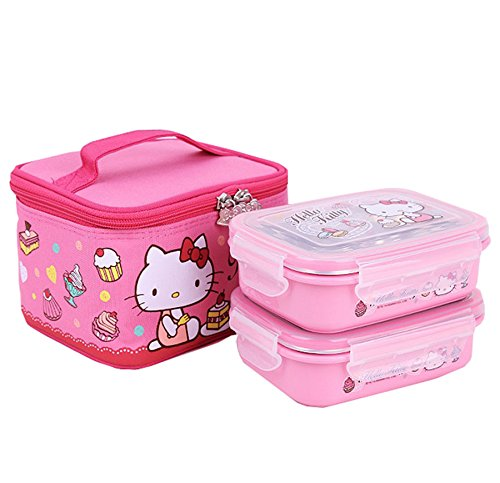 (Lock & and Lock Hello Kitty Two-stage Kids Bento Box Picnic Outdoor Activity Travel Kitchen Food Storage Stainless Steel Heat Insulation Container Lunch Box Pink)