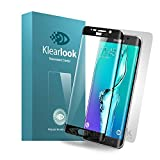 Klearlook Crystal Clear 3D Curved Full Coverage Tempered Glass Screen Protector+ Matt Back Film for Samsung Galaxy S6 Edge Plus-Lifetime Warranty[Black Frame]