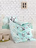 Panda Themed Baby Bedding, Toddlers Crib Bedding for Babies, 100% Cotton Duvet Cover Set, Baby Comforter Included, 5 Pieces, Mint
