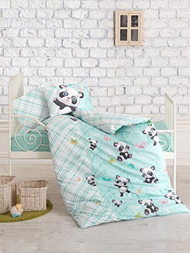 Panda Themed Baby Bedding, Toddlers Crib Bedding for Babies, 100% Cotton Duvet Cover Set, Baby Comforter Included, 5 Pieces, Mint by DecoMood