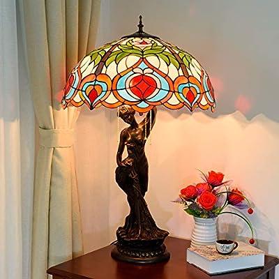 RouYuan Lámpara Tiffany, Lámpara de Mesa Retro Europea Xiantao ...