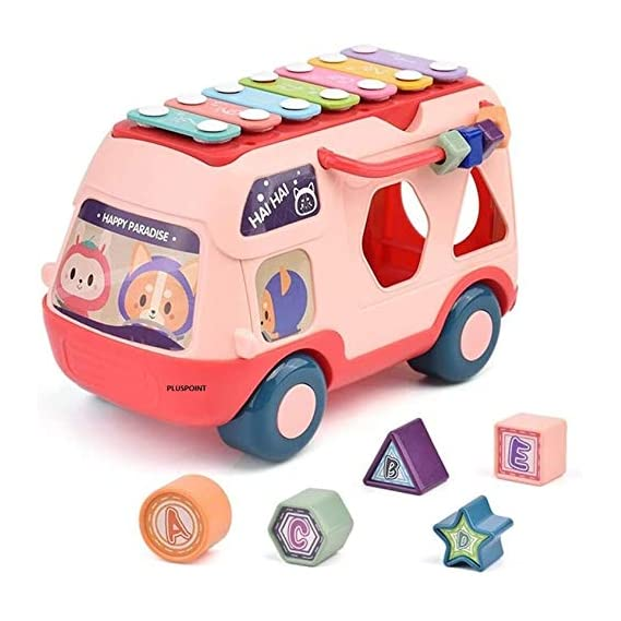 PLUSPOINT Musical Happy Bus Toys with Xylophone & Shape Sorter Toy, Educational Learning Toys for Kids