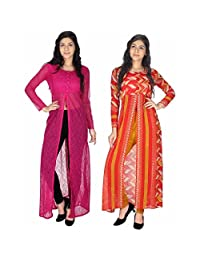 (Pack of 2 ) Yogalz Women Indian Kurti Pink And Orange Net And Georgette.