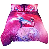 Enjohos Galaxy Cat Bedding Sets 3D Printed Cotton 4 Piece Duvet Cover Set, 2 Pillowcases 1 Flat Sheet 1 Duvet Cover,Twin Size