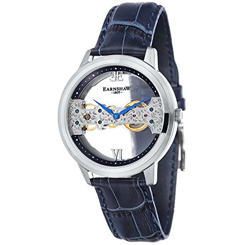 Thomas Earnshaw Men's 'CORNWALL BRIDGE' Mechanical Hand Wind Stainless Steel and Leather Dress Watch, Color:Blue (Model: ES-8065-02)