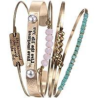 Lovelychica Vintage 5PCS Multi Layer Bracelets Turquoise Triangle Knot Stackable Open Cuff Bracelet Set Bangle Women