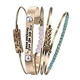 Vintage 5PCS Multi Layer Bracelets Turquoise Triangle Knot Stackable Open Cuff Bracelet Set Bangle Women