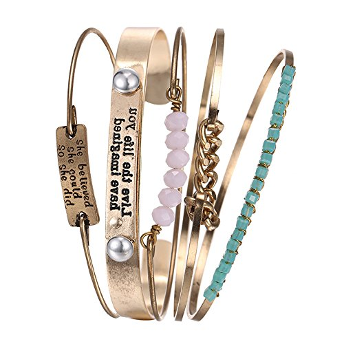 Vintage 5PCS Multi Layer Bracelets Turquoise Triangle Knot Stackable Open Cuff Bracelet Set Bangle Women (Stackable Bracelet Gold)