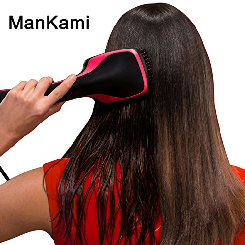 Blow Straightening Dryer (One Step Hair Dryer and Styler, ManKami Blow Dryer Hot Air Paddle Brush Negative Ion Generator Salon Hair Straightener for All Hair Types)