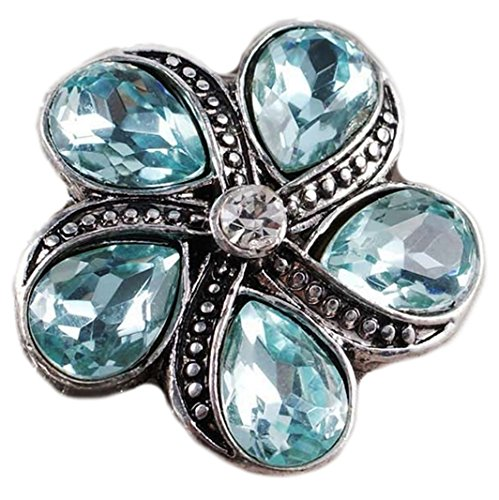 Blue Rhinestones Star Fish Flower 20mm Snap Charm For Ginger Snaps Jewelry ()