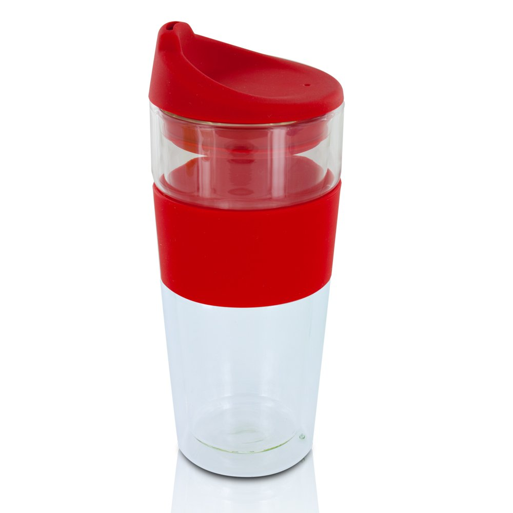 smart planet double wall glass coffee travel mug red amazonca  - smart planet double wall glass coffee travel mug red amazonca home kitchen
