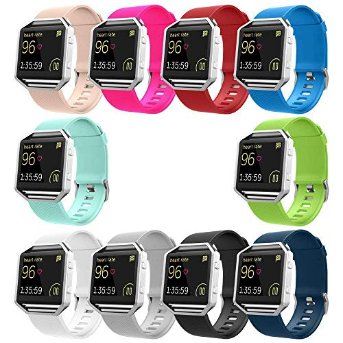 UMTELE Soft Silicone Replacement Band for Fitbit Blaze Smart Fitness Watch, Small 10 Pack