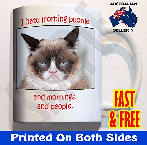 (Grumpy Cat I hate morning people mornings Coffee Mug Cup funny Fathers Day)