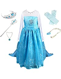 Girls Princess Party Cosplay Costume Long Dress up 3-9 Years