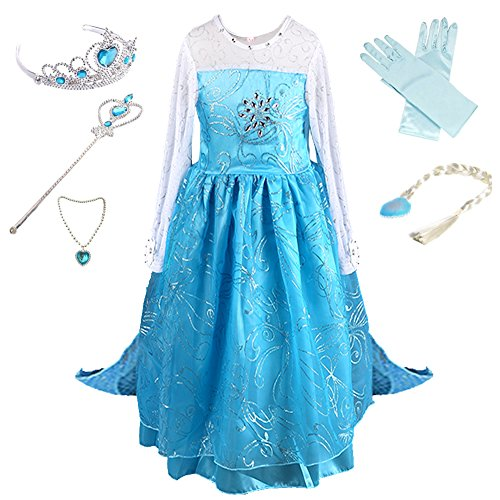 Anbelarui Girls New Princess Party Costume Long Dress Up with Tiara&Wand&Necklace&Wig&Glove,Complete Set (6-7 Years, 02 Dress&Accessories Set) -