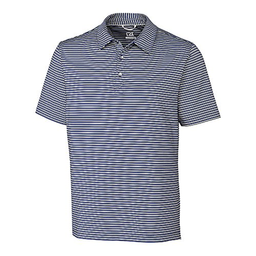 Cutter & Buck Men's Big & Tall 50+ UPF Division Stripe Polo Shirt, Tour Blue/Polished, 2XLT