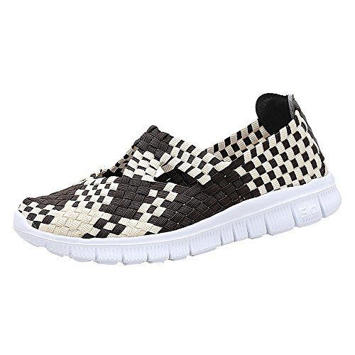 - ♡QueenBB♡ Women's Slip On Walking Shoes Woven Stretch Mesh Loafers Lightweight Mary Jane Flat Sneakers Multicolor Khaki
