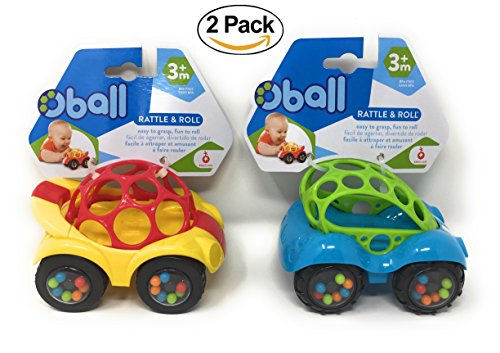 O Ball 1-Piece Rattle & Roll Car, 2 Pack Value Set
