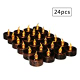 Flameless Tea Lights Electric Battery Fake Tealight Black LED Candles for Votive, Wedding, Party, Table, Dining Room, Amber Yellow Light Bulb, Pack of 24
