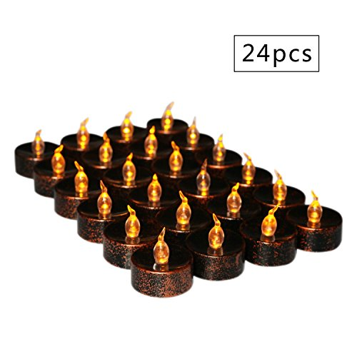 Flameless Tea Lights Electric Battery Fake Tealight Black Votive LED Candles for Halloween, Christmas Party, Table Decor, Amber Yellow Light Bulb, Pack of 24