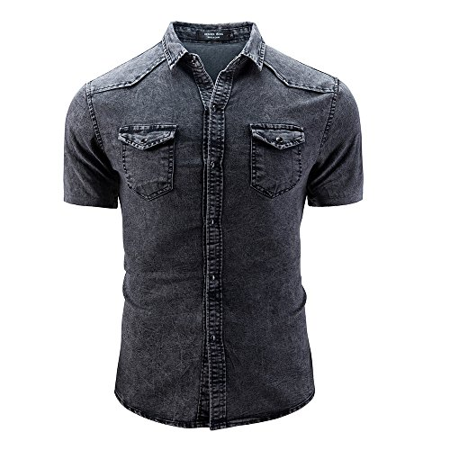 Benficial Men's Casual Slim Fit Shirts Pure Color Short Sleeve Polo Fashion Denim T-Shirts ()