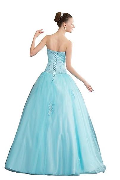 Orifashion vestido de novia A-line, color azul azul 36