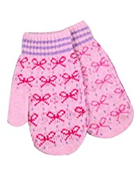 Fashion Winter Women's Mittens Bow Gloves Jacquard Cashmere,Pink