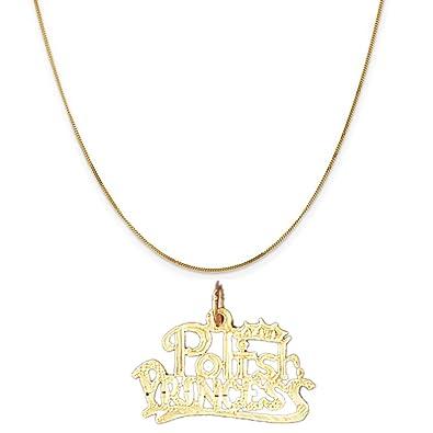 Amazon 14k yellow gold polish princess pendant on a 14k yellow 14k yellow gold polish princess pendant on a 14k yellow gold curb chain necklace 16quot aloadofball Image collections