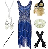 1920s Gatsby Sequin Fringed Paisley Flapper Dress with 20s Accessories Set (2XL, Blue)