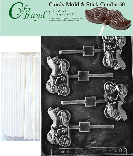 Cybrtrayd 45St50-K083 - Molde para caramelos de chocolate con 50 palos de chocolate de 11,4 cm