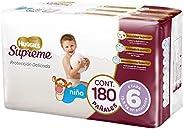 Huggies Supreme Pañal Desechable para Bebé, Etapa 6 Niño, Caja con 180 Piezas, Ideales para niños de más de 13
