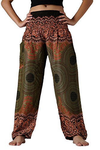 Bangkokpants Women's Boho Pants Hippie Clothes Yoga Outfits Peacock Design One Size Fits (Rose Green)