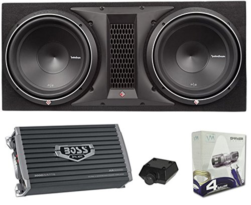 Rockford Fosgate P2-2X12 12' 1600W Loaded Subwoofer Sub Enclosure+Amp+Amp Kit