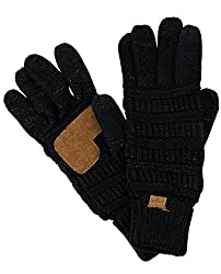 C C Unisex Cable Knit Winter Warm Anti Slip Touchscreen Texting Gloves Black Metallic