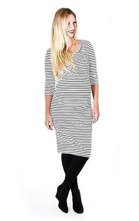 66b816deb8 Madeleine Maternity Women s Etoile Dress Large Black White Stripe at ...