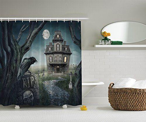 (Ambesonne Halloween Haunted House Shower Curtain Decoration Fabric Shower Curtain)