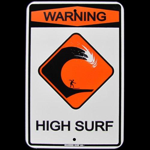 Warning High Surf Surfer Surfboard Ocean Beach Tin Sign (Tin Surfer)