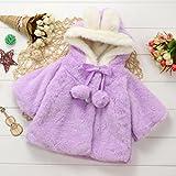 Gotd Newborn Baby Girls Autumn Winter Clothes Hooded Coat Cloak Jacket Thick Warm Outwear (12-18 Months, Purple)