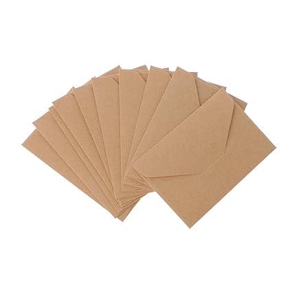 MENTIN 50pcs Mini sobres kraft sobres de cartes-cadeaux sobres de tarjeta de visita de boda pequeñas sobres clásico Rabat, color marrón 10.5x6.8cm