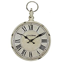 Rustic White Metal 'Pocket Watch' Wall Clock by Haysom Interiors