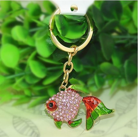 [Lovely Fish Animal Diamond Crystal Rhinestone Gold Crystal Keychain Charm Pendent Beautiful Accessories the Best Gift for Girl Women Purse Handbag Bag Keyrings With Gift Box] (Red Fanta Girl Costume)